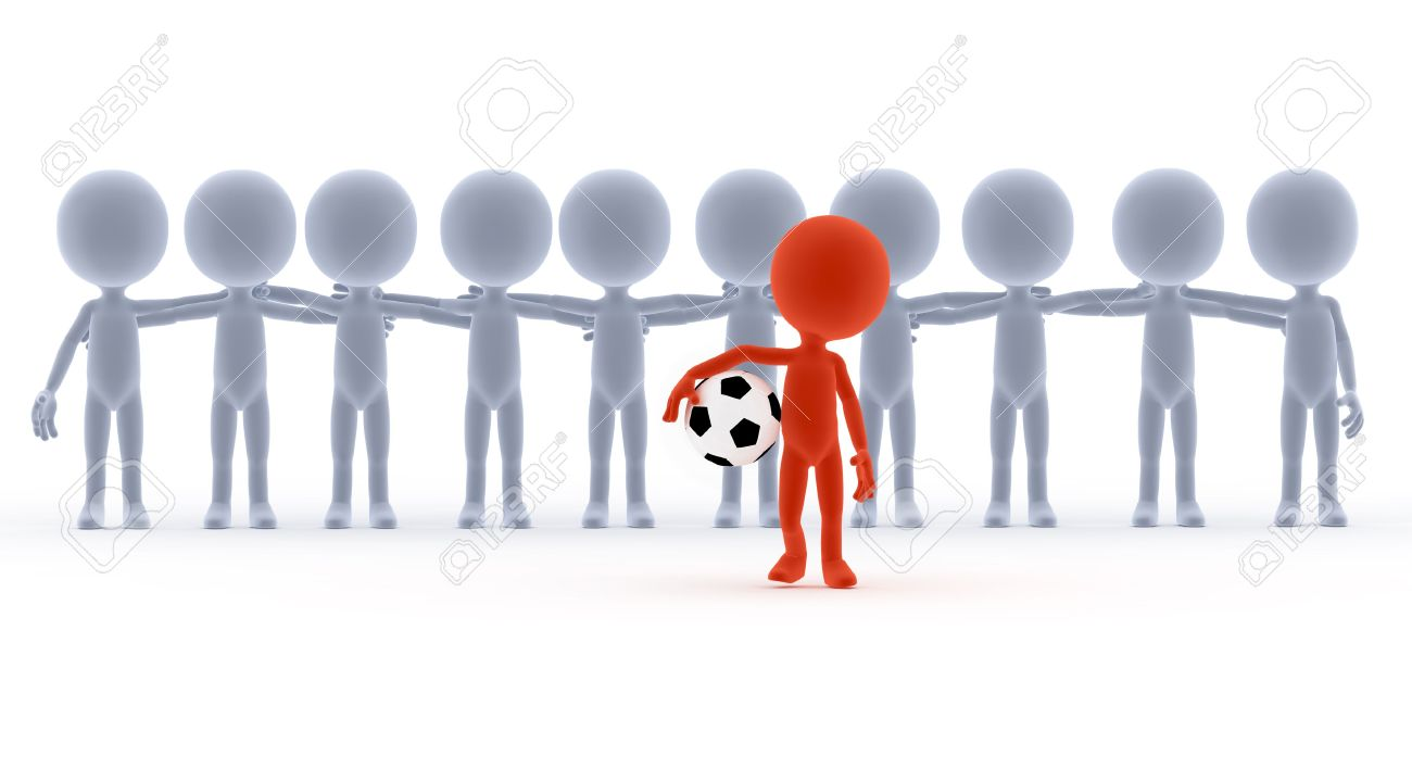 13150431 Football soccer team leader with ball and his people Toons conceptual Stock Photo
