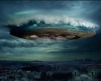 Wallpaper UFO City Flying Saucer 350x280drk iphone