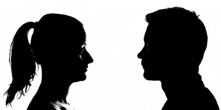 silhouette woman and man crop